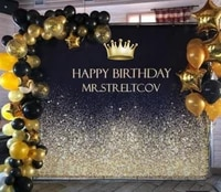 beipoto sparkle and black adult birthday party banner custom text golden crown party decoration backdrop photo background b 450