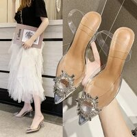 luxury women pumps rhinestone transparent high heels sexy pointed toe thin heels wedding party shoes