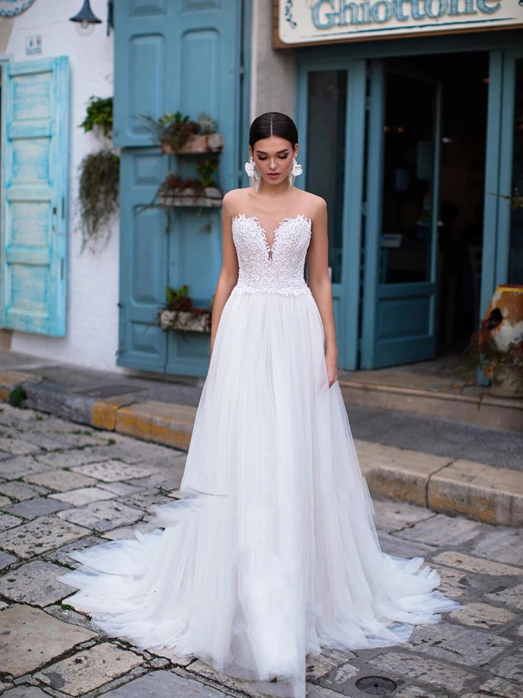 Promo Simplicity Wedding Dresses Silky Organza With Train O-neck Sleeveless Wedding Button  Backless In Plus