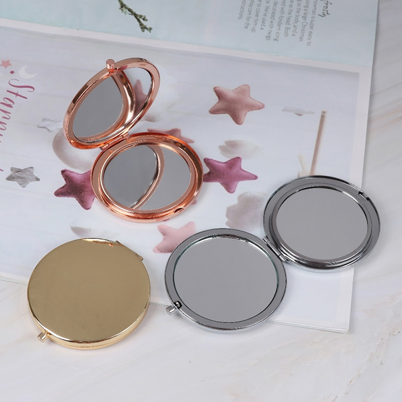1 PC Portable Folding Mirror Compact Stainless Steel Metal Makeup Cosmetic Pocket Mirror Beauty Acce
