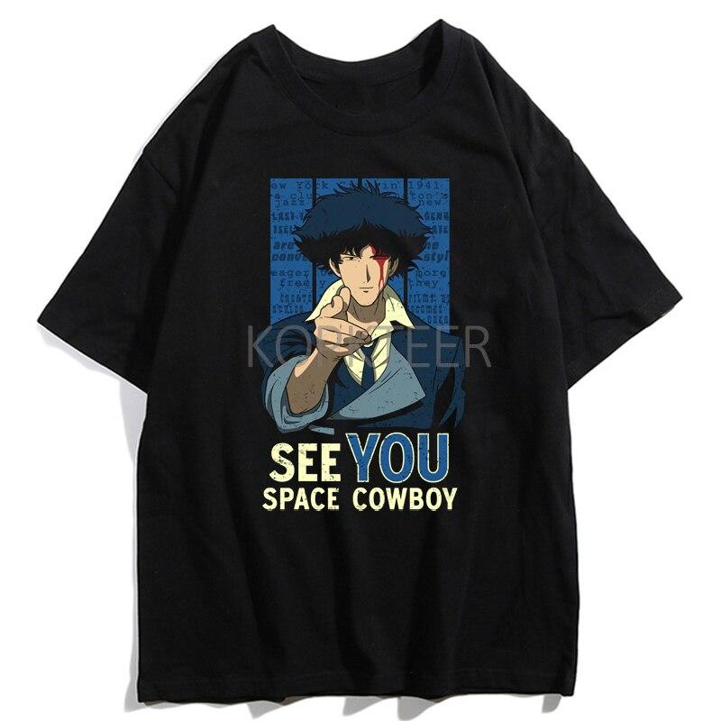 Cowboy Bebop Spike Spiegel Batou Kusanagi Motoko Estética T Camisa Dos Homens Frescos de Hip Hop T-Shirt Harajuku Streetwear Verão Tops Tees