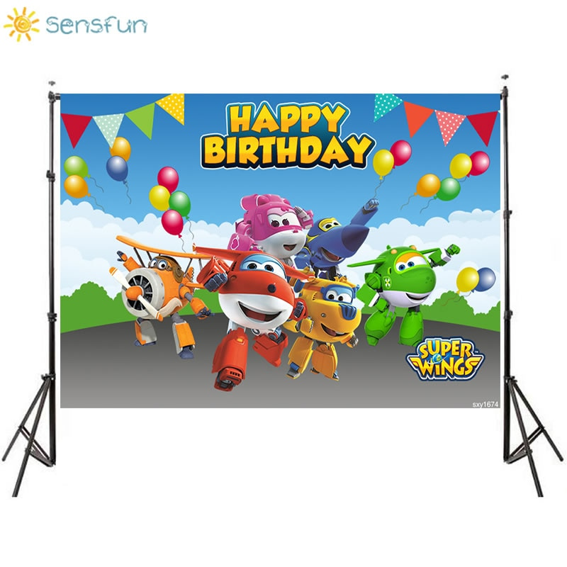 Sensfun Thin Vinyl Happy Birthday Super Wings Custom Photo Background Baby Shower Backdrop Photography Studio Supplies 7x5FT
