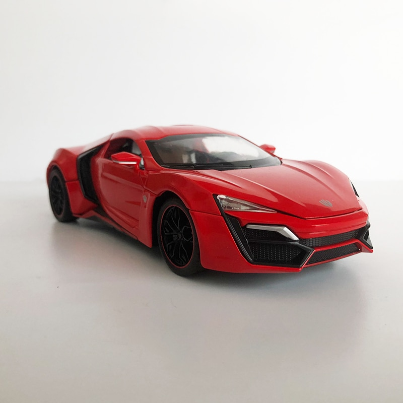 1/24 Scale Alloy Simulation Lycan Toy Car Model Metal Die Cast Vehicle With Sound Light Pull Back For Kids Collection Gifts