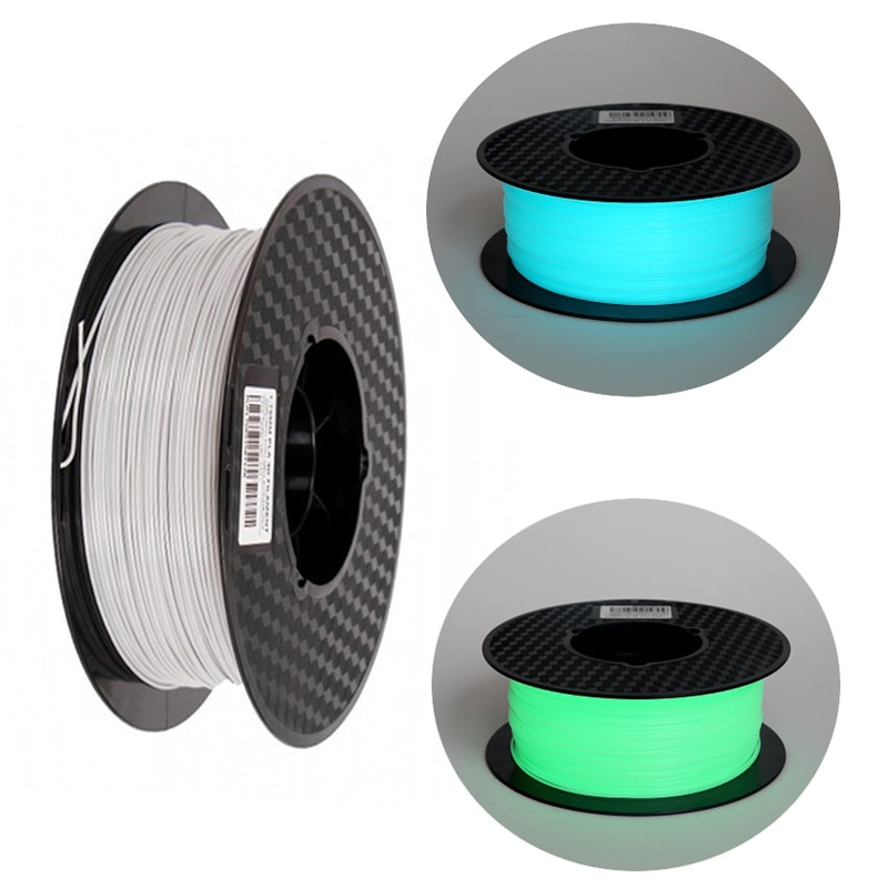 Noctilucous-خيوط للطابعة ثلاثية الأبعاد ، PLA ، 1.75 مللي متر ، 1 كجم ، مضيئة ، شفافة ، توهج باللون الأخضر والأزرق الداكن
