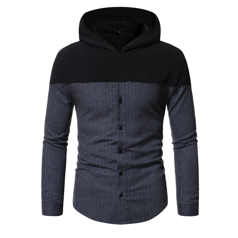 Spring and Autumn New Fashion Casual Men Splicing Striped Hooded Slim-fitting Long-sleeved Men's Shirts form fitting striped shell dress