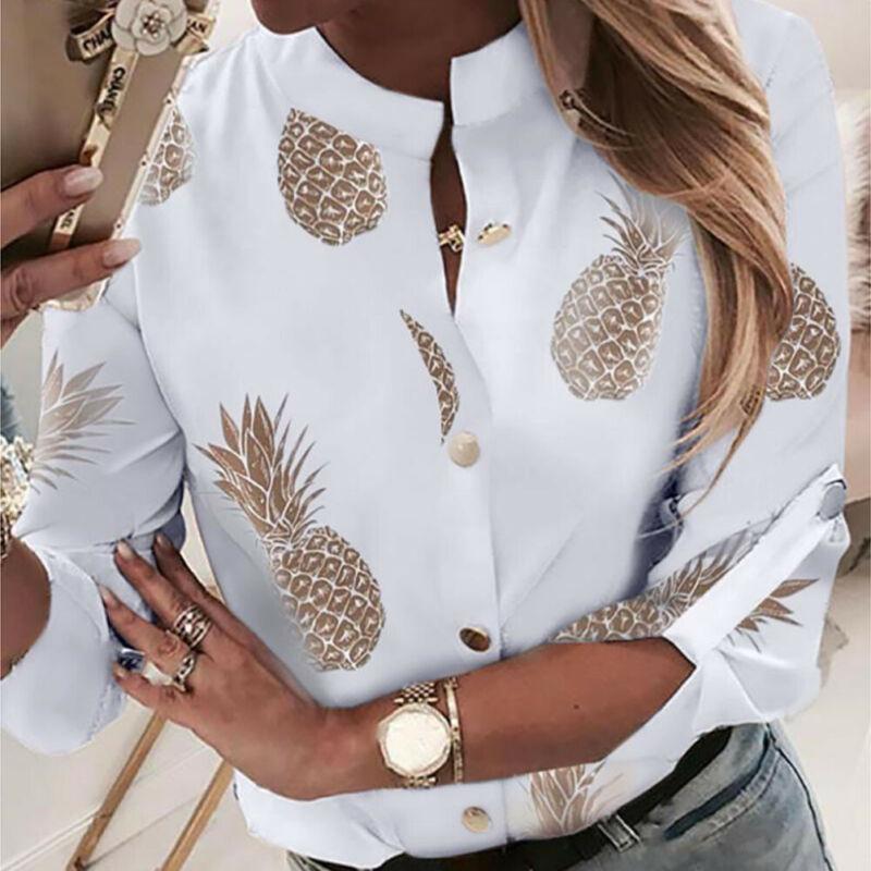 Fashion Women Long Sleeve Gold Pineapple Print Blouse V Neck Shirt Office Ladies Party Elegant Stree