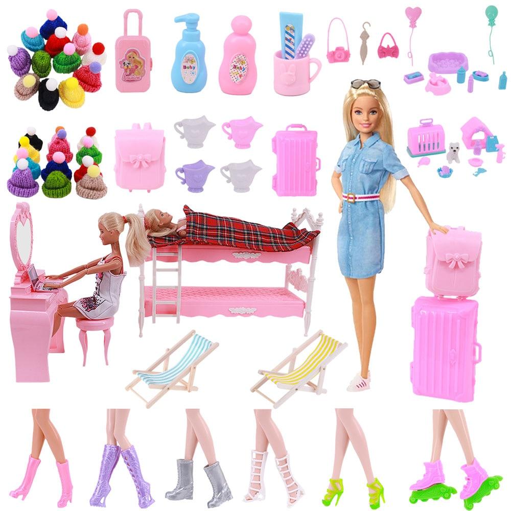 Барби Кукла Одежда Обувь шляпа Мини Путешествия Игрушка багаж мебель кровать стул бесплатная доставка для Барби кукольные аксессуары пода...