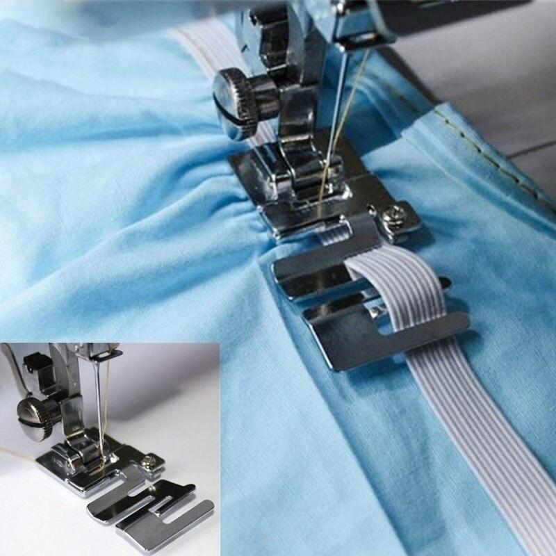 Banda elástica presser pé para uso doméstico máquina de costura shirring presserfoot doméstica costurar acessórios da máquina de costura borda de pano