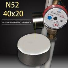 1 pz magnete caldo 40x20mm N52 magneti rotondi potenti potente magnete al neodimio 40x20mm metallo magnetico 40*20mm