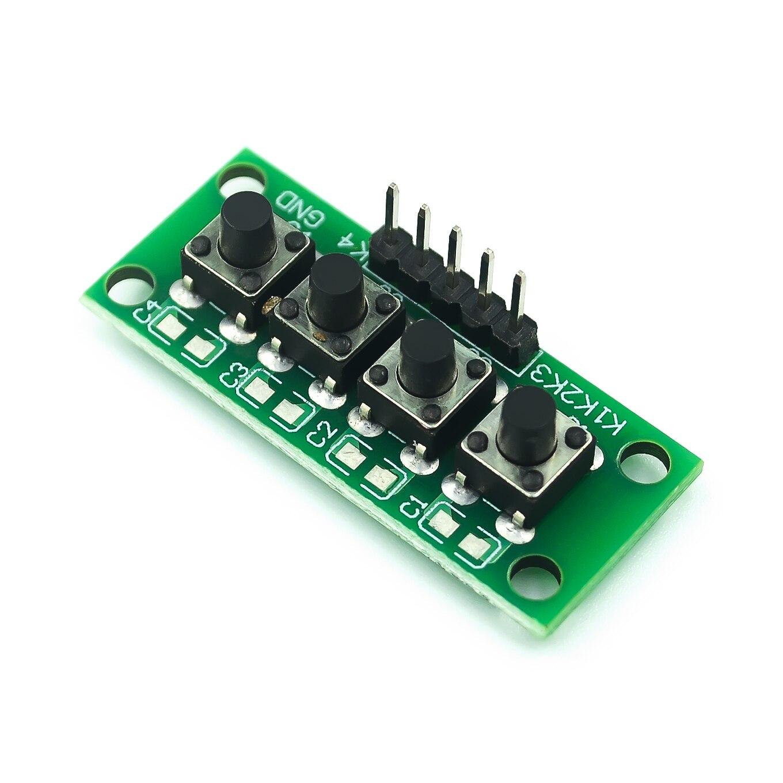 10 unids/lote DIY Kit 1x4 4 Módulo de teclado con botón de tecla independiente Mcu para proyecto de graduación de diseño de clase de estudiante Arduino