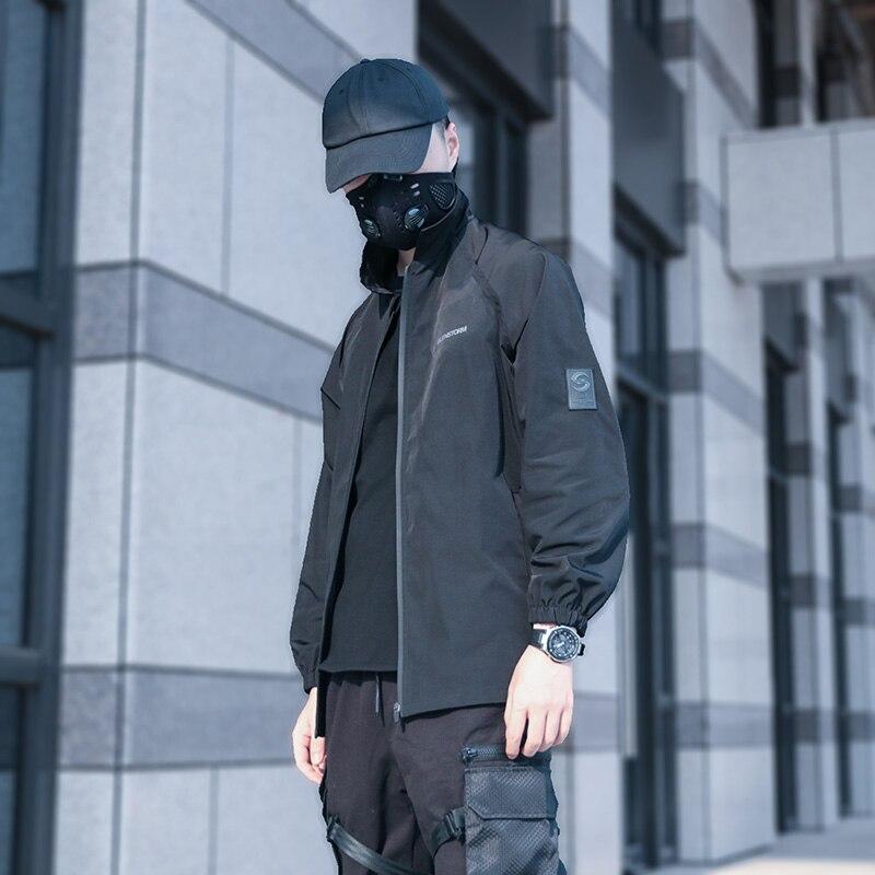 Silenstorm techwear preto treinador jaqueta windprood resistente à água oversized estilo hip hop moda