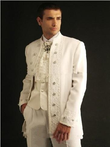 معطف أبيض مطرز للرجال مناسب لحفلات الزفاف بدلة العريس بدلة للعريس ملابس للعشاء فستان للحفلات الراقصة ملابس العريس (سترة + بنطلون)