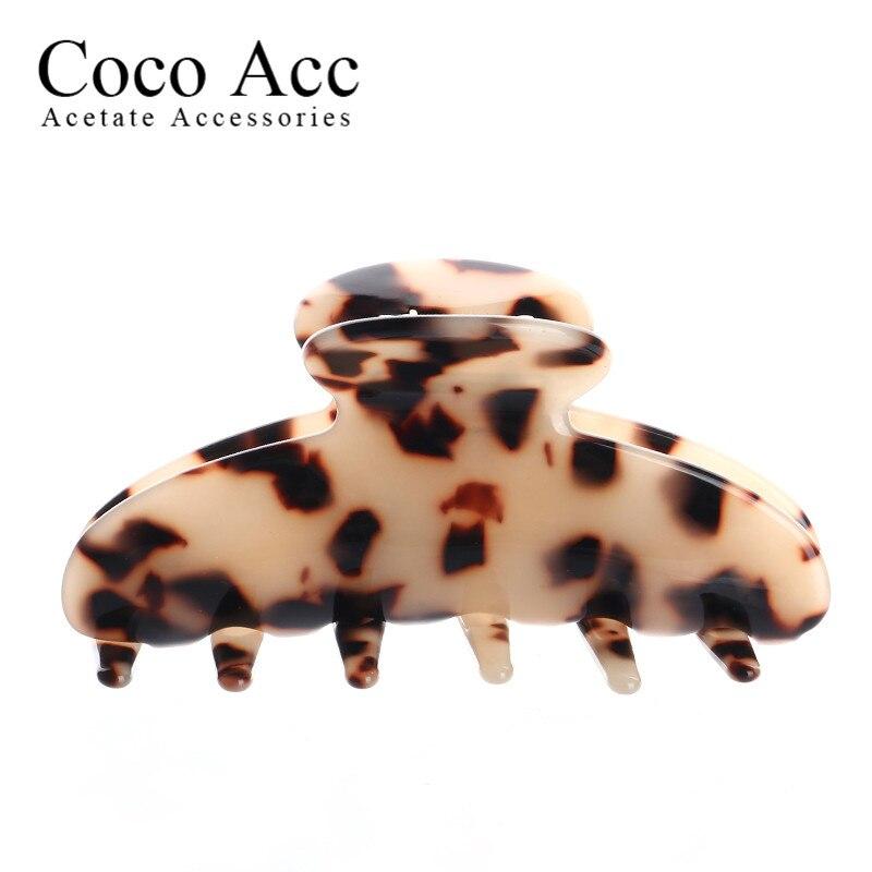 Pinzas de pelo grande de acrílico de acetato de color de concha de tortuga de moda para mujeres niñas pelo grueso largo precio al por mayor