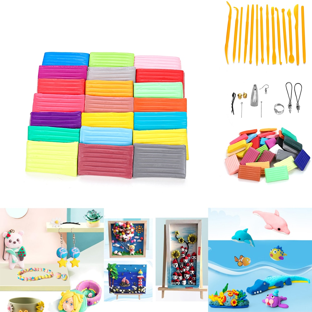 truecolor children ultra light clay 24 32color non toxic rubber crystal color clay space snow clay sand set 50 Colors/set Light Soft Clay DIY Toys Children Educational Air Dry Polymer Plasticine Safe Colorful Light Clay Toy Gift To Kids