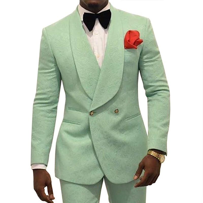 JELTONEWIN النعناع الأخضر الأزهار يتأهل رجل الدعاوى مزدوجة الصدر ل الزفاف العريس سهرة 2 قطعة سترة السراويل حفلة موسيقية حزب الدعاوى