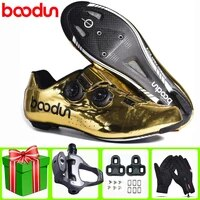 boodun road cycling shoes carbon fiber new ultralight self locking pro bike gold breathable bicycle racing athletic sneakers men