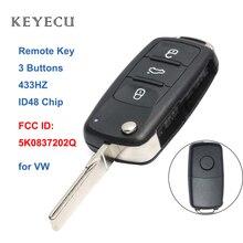 Keyecu Remote Car Key Fob 3 Buttons 434MHZ ID48 for Volkswagen Beetle Caddy Golf Jetta 2011 2012 2013, 5K0 837 202 Q, 5K0837202Q