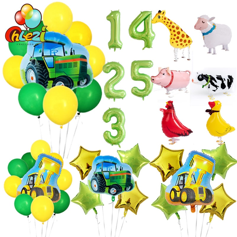 AliExpress - Tractor bulldozer foil balloons Farm ballons walking animal  helium globos Party accessories birthday party decoration for kids