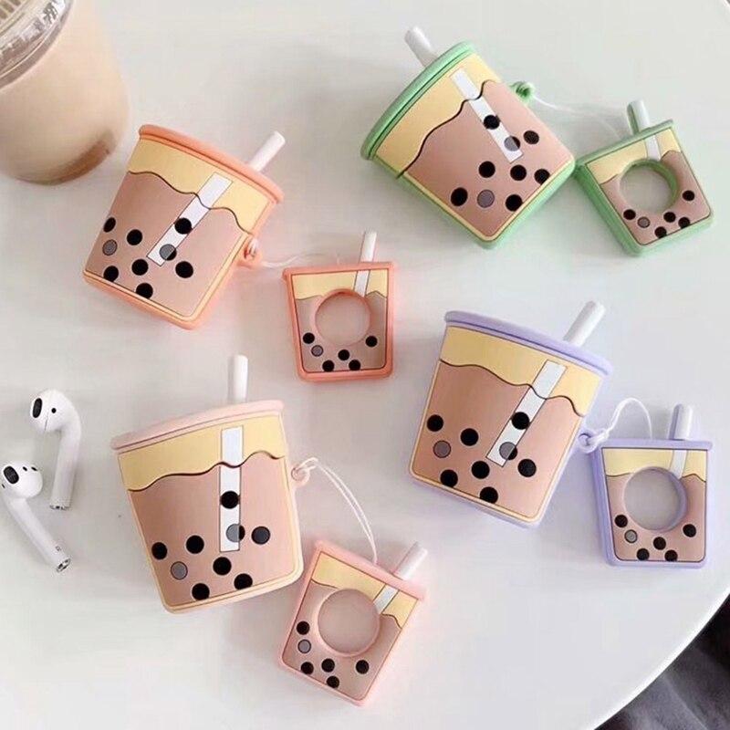 Funda para auriculares AirPods con dibujos animados, bonita botella de té Boba con burbujas de leche suave, funda protectora de silicona suave con correa para el dedo