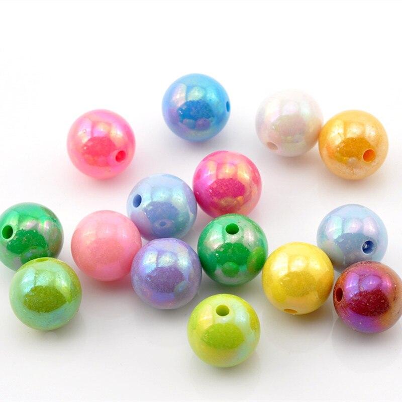 DoreenBeads Acryl Spacer Perlen Ball Bunte Mixed AB Farbe Poliert Schmuck Über 14mm (4/8 ) Durchmesser, loch: Ca. 2,5mm, 9 PCs