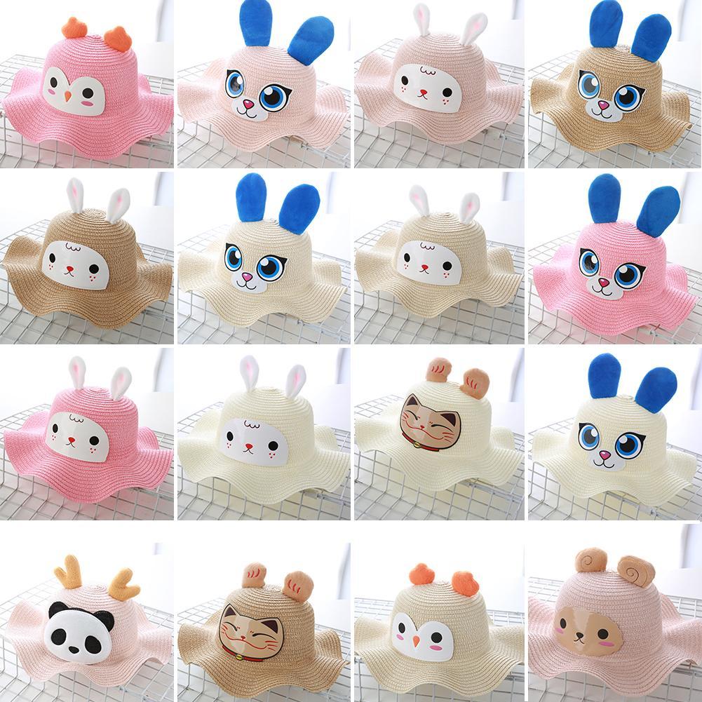 Baby Girl Cartoon Rabbit Sheep Panda Cat Bucket Hat Sun Protection Straw Cap Summer Wide-brimmed Straw Hat