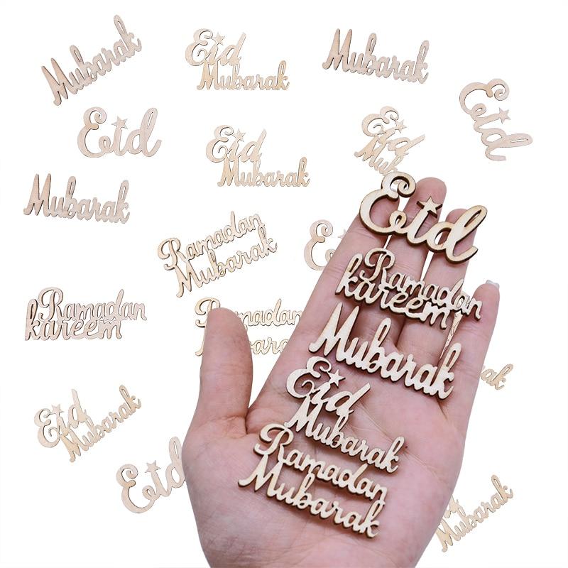 15/30/60 Uds. Eid Mubarak DIY Chips de madera accesorios hogar Iftar fiesta Deco suministros musulmán Eid Mubarak Ramadán alfabeto de madera ornamento