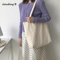 solid shoulder canvas bag for women college wind leisure eco reusable foldable large capacity school shopping tote bags
