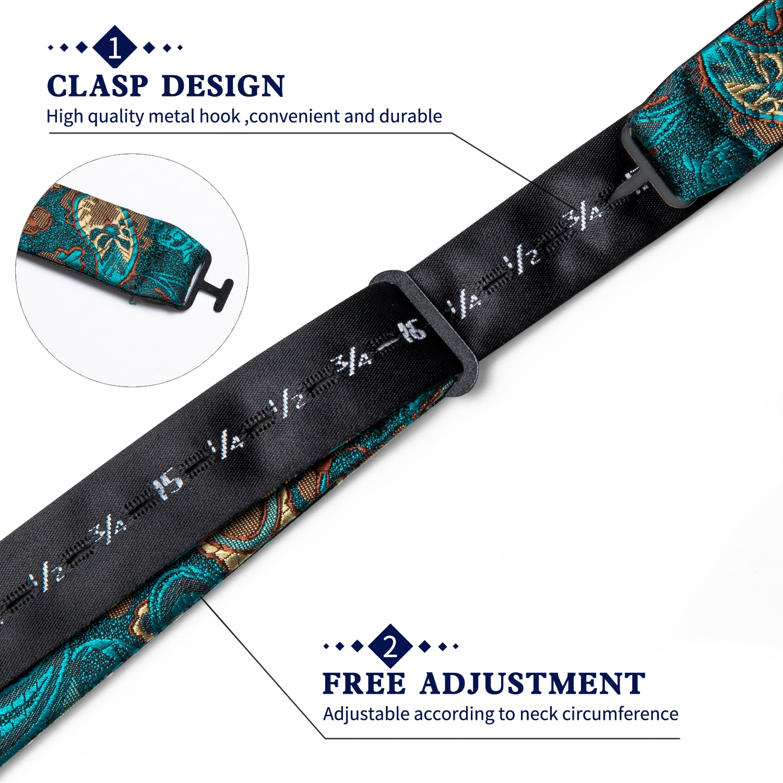3 Pack Silk Men's Self Bow Tie Handkerchief Set Teal Green Blue Paisley Floral Butterfly Knot Tuxedo Wedding Cravat DiBanGu