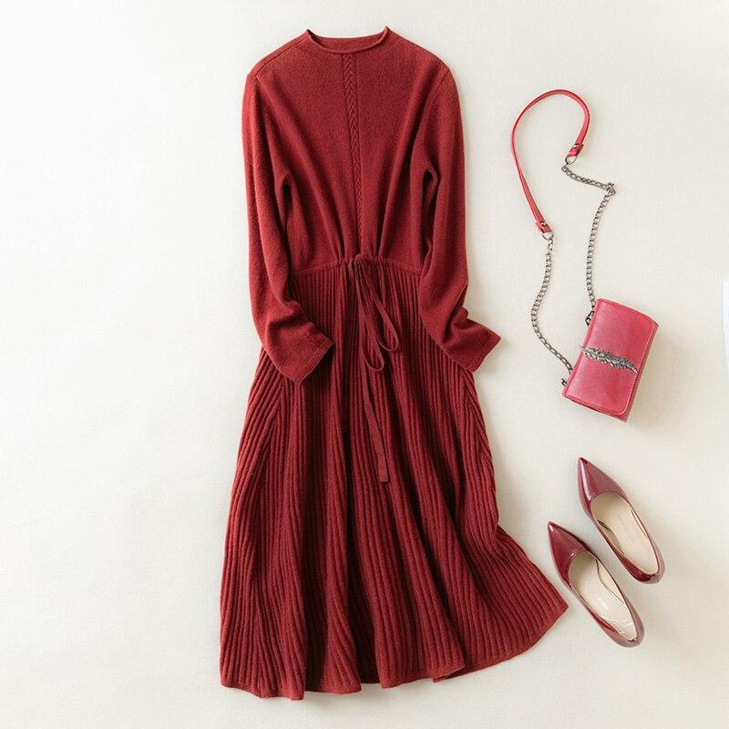 MeetMetro 100% Wool Women Long Sweater Wool Dress Pullover Women Fashion Winter Knitted Long Sweater Knitwear O-Neck Long Sleeve enlarge