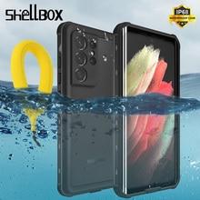 Роскошный прозрачный чехол для подводной съемки для Samsung Galaxy S21 Ultra S20 + Водонепроницаемый чехол со встроенным защитным экраном защитный чехол