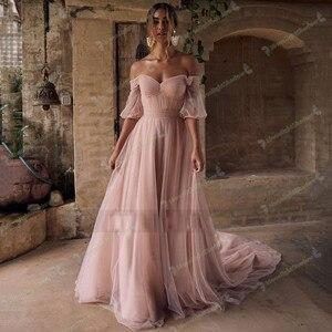 Pink Wedding Dresses Boho Beach Bride Dress  Off Shoulder Vintage Cheap Wedding Gowns with Short Sleeve Plus Size Vestido