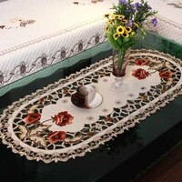 vintage embroidered fabric oval tablecloth rectangular for wedding party event banquet home decoration supply table cover
