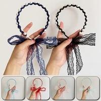 fairy hair hoop headband a system of female tie hair gentle lace ribbon super fairy braided pearl ribbon headdress