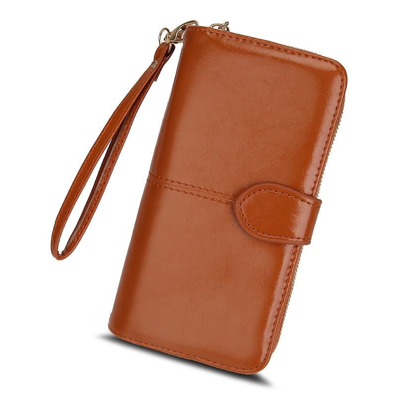 Popular women's wallet 2021 new zipper oil wax leather wallet buckle mobile phone bag oil leather new Pu handbag wallets