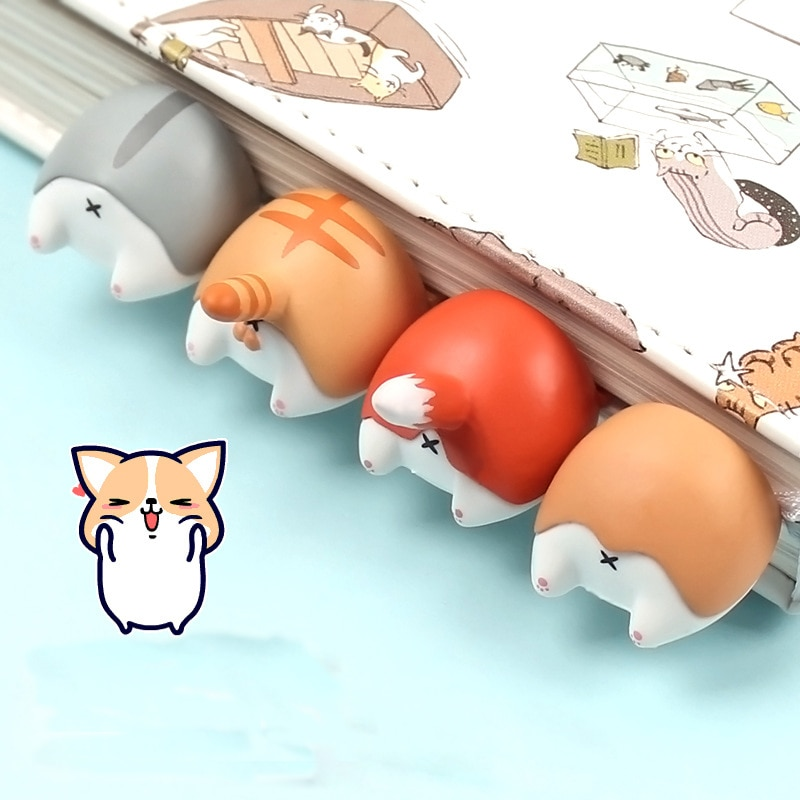 Cute Cartoon Cat Dog Hamster Fox Ass Bookmarks Kawayi Novelty Book Reading Item Creative Gift for Kids Children Stationery