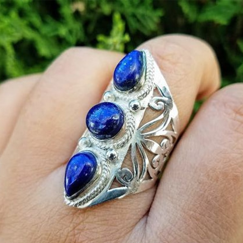 AliExpress - Vintage Tibetan Boho Blue Stone Resin Ring for Women Exaggerated Ethnic Jewelry 2021 New Personality Silver Color Rings Gift