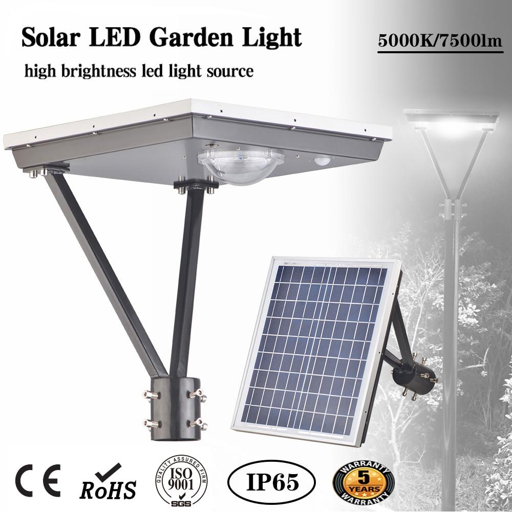 15/20/25/50W Luz de jardín LED Solar jardín calle Luces al aire libre 5000K 50000 horas de vida IP65 múltiples certificaciones 150 W/lm
