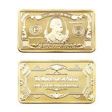 Barre américaine plaquée or 24k 999.9   Mille dollars, barres métalliques Style billet de banque américain, faux Bars dorés américains