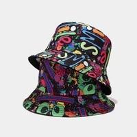 new fashion colorful graffiti panama cap reversible bucket hat summer hats for women men gorro bob panama street hip hop cap