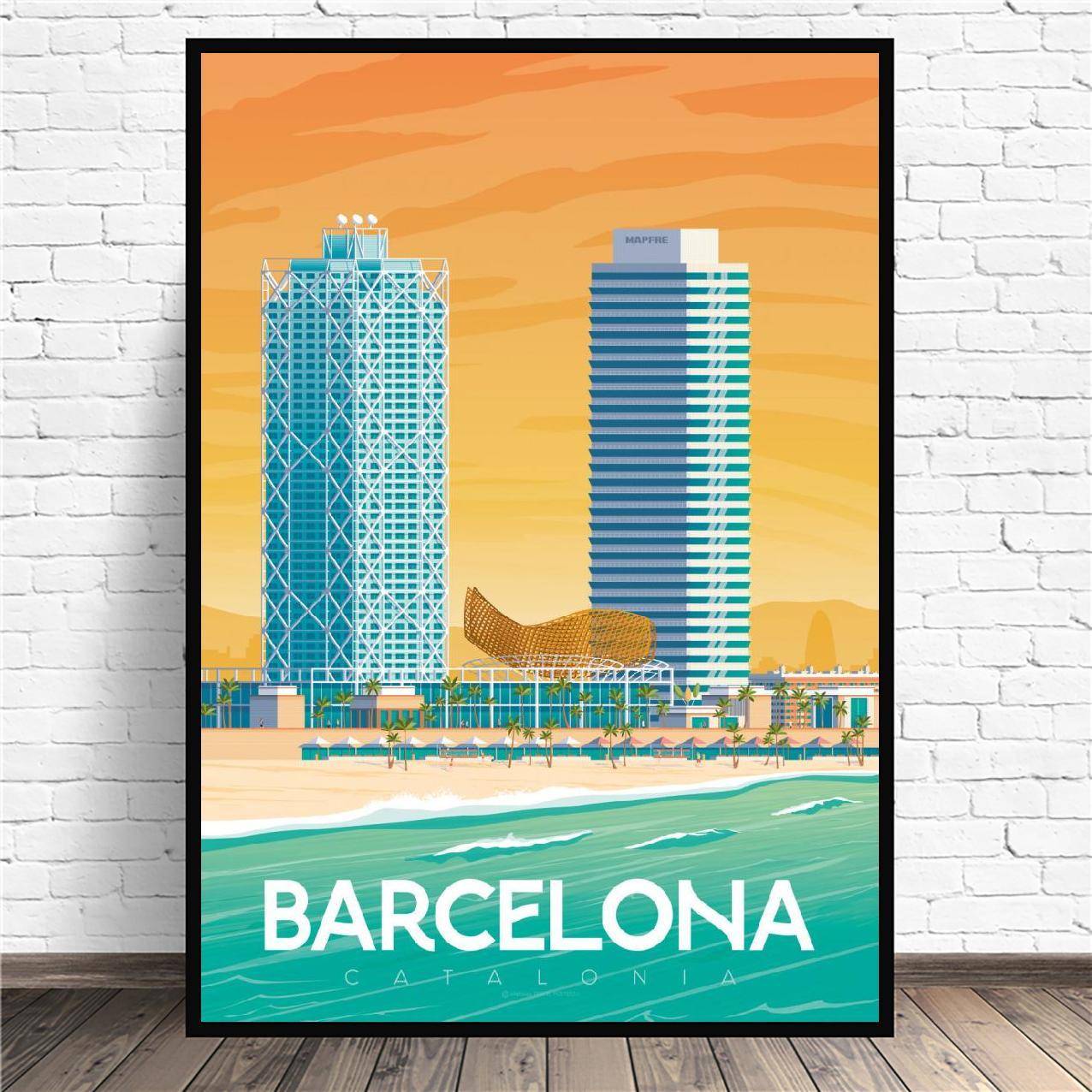 Cuadro de lona de viaje de Barcelona, Póster Artístico impreso, pared, decoración...