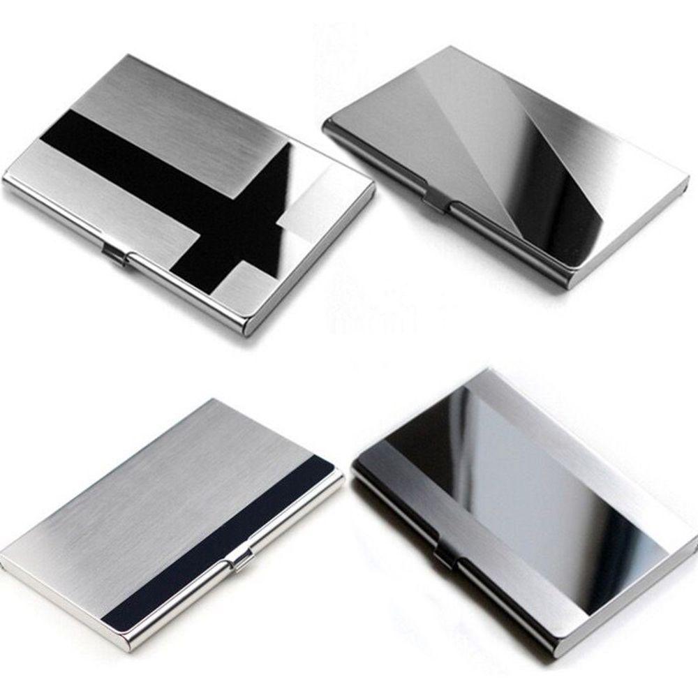Frau Männer Edelstahl Aluminium Business ID Name Kreditkarte Halter Fall Metall Brieftasche Büro Liefert Schnelle Verschiffen Neue