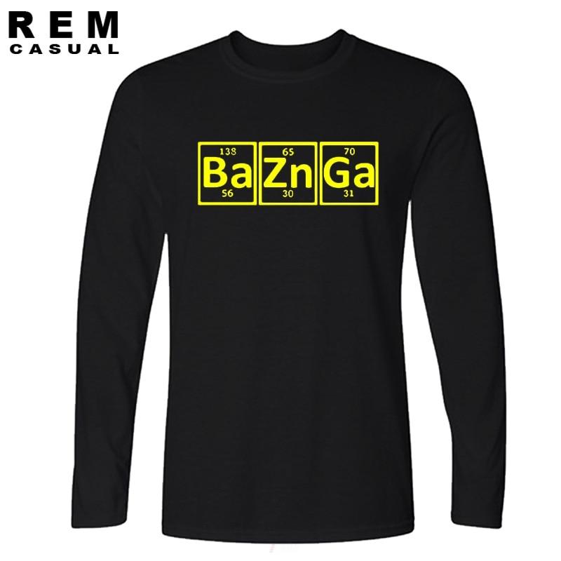 Ocasional Nova Camisa Dos Homens T de Algodão Tabela Periódica The Big Bang Theory Bazinga Sheldon Cooper T-shirt de manga Comprida