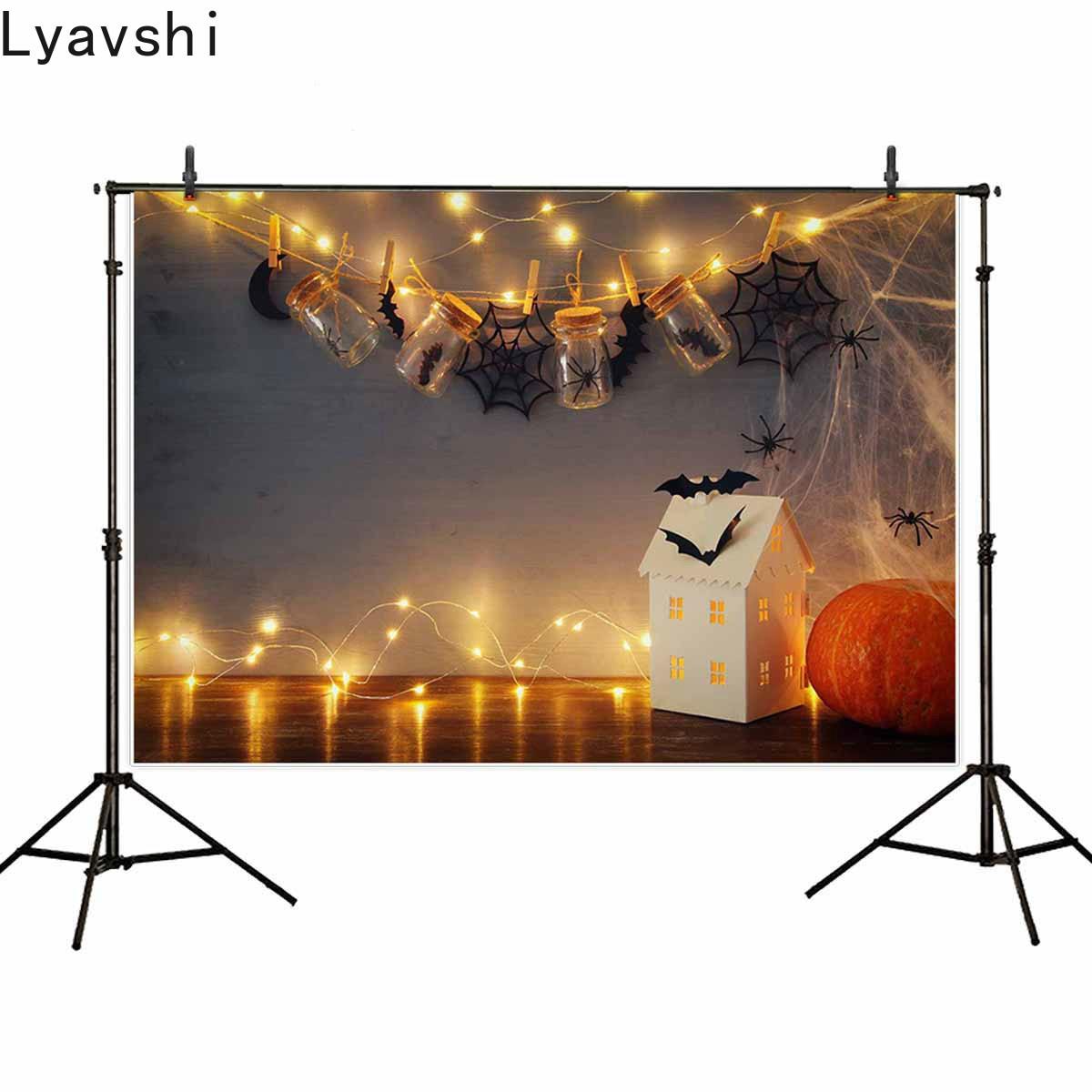 Pano de Fundo para Estúdio Lyavshi Halloween Fotográfico Casa Misteriosa Mason Jarros Aranha Web Morcegos Fundo