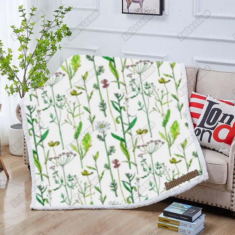 زهرة النباتات الخضراء بطانية رمي البطانيات الصيف البطانيات الاطفال الكبار بطانية سرير أريكة بطانية ناعمة فراش للتنزه بطانية مخصصة