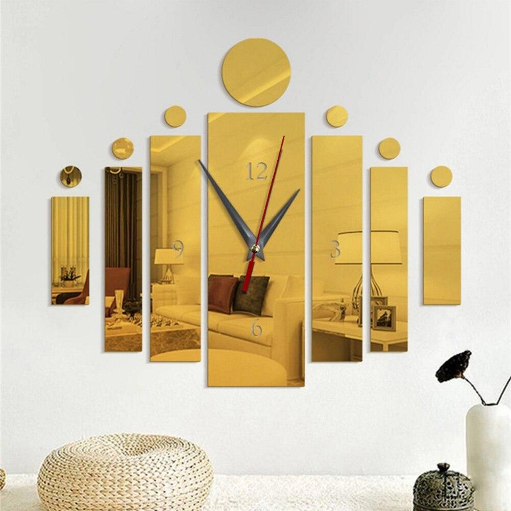 2020 nuevo reloj de pared decorativo creativo para el hogar DIY tira Rectangular espejo pegatina acrílica para pared reloj