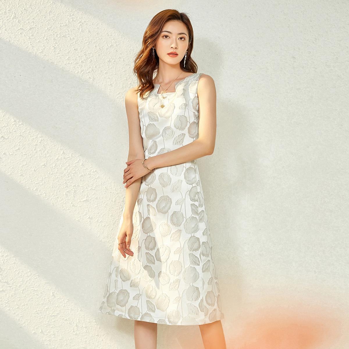 2021 فستان مستقيم صيفي فساتين مكتب سيدة من الجاكارد بدون أكمام للحفلات المسائية ملابس نسائية زهري