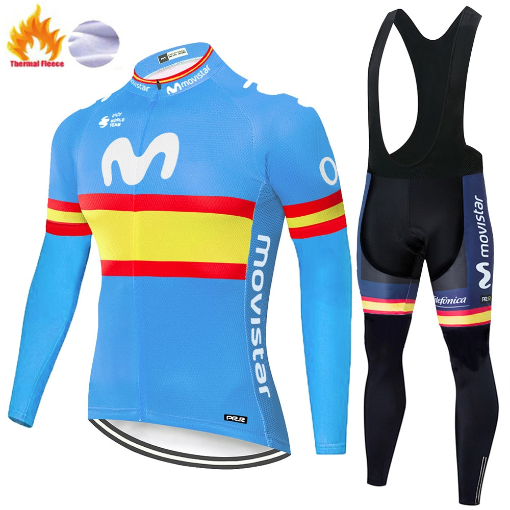 2020 pro equipo ropa ciclismo masculino Invierno Polar térmica movistar ciclismo jersey hombre jersey de uniforme de ciclismo