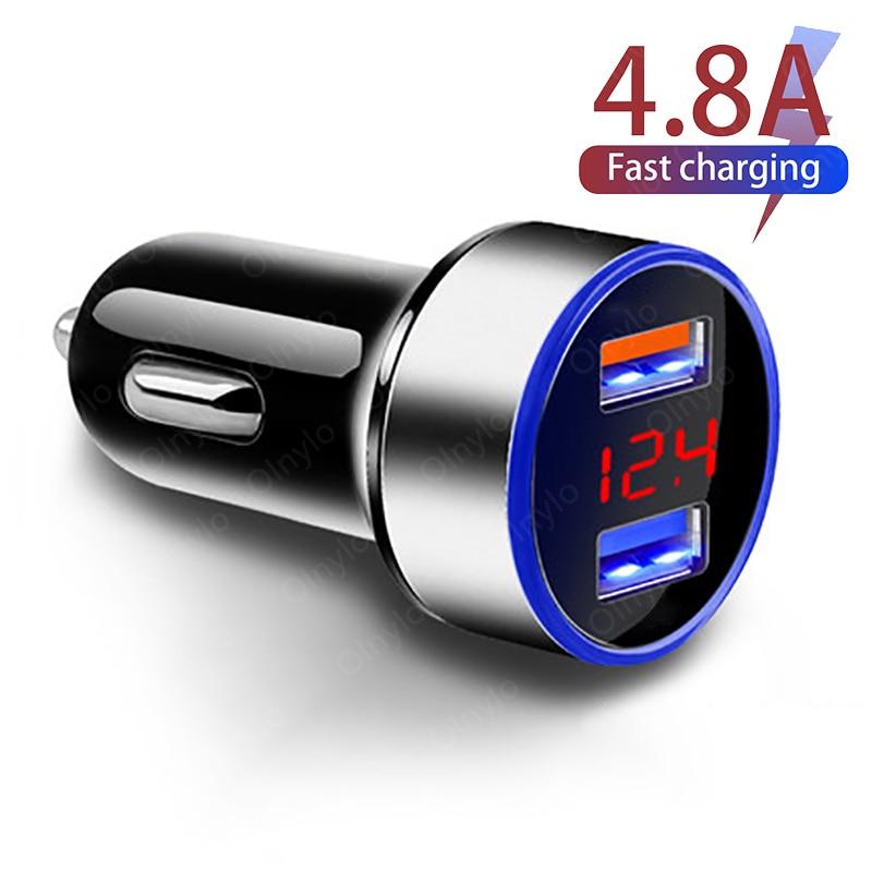 Автомобильные зарядные устройства, 4,8 А, 5 В, 2 порта, быстрая зарядка для Samsung, Huawei, Iphone 11, 8 Plus, универсальные алюминиевые автомобильные аксесс...
