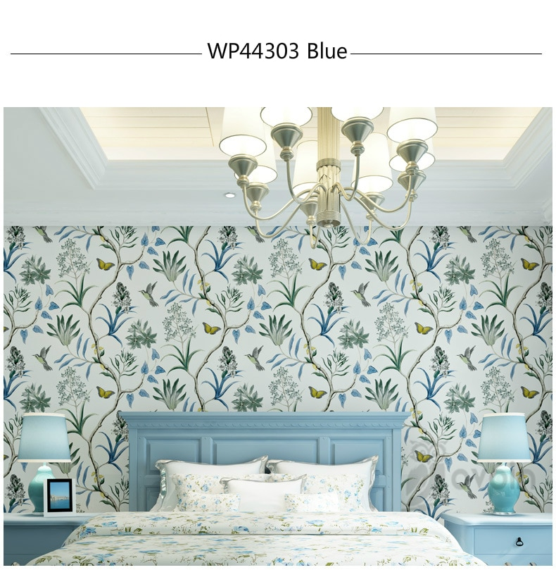 american style bedroom wall covering modern vintage pink floral wallpaper blue tropical butterfly birds flower wall paper Home Decor   Bedroom Wall Covering modern Vintage Pink Floral Wallpaper Blue Tropical Butterfly Birds Flower Wall Paper