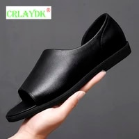 crlaydk mens business working office sandals summer leather open toe walking casual male fashion dress formal shoes sandales